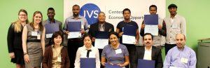 JVS students holding Hospitality Training Program certificates of completion