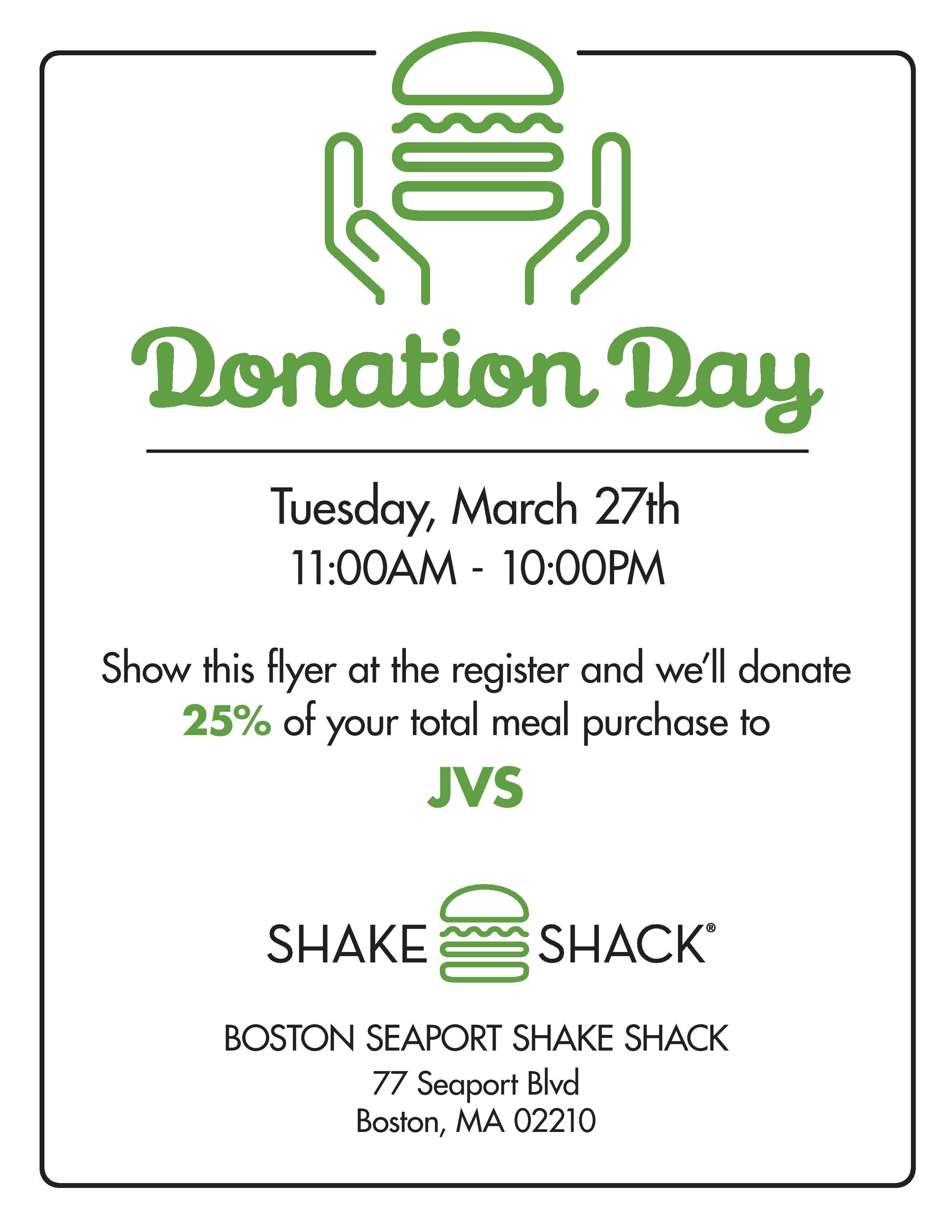JVS Donation Day at Shake Shack - JVS
