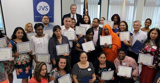 Governor Charlie Baker with JVS grads