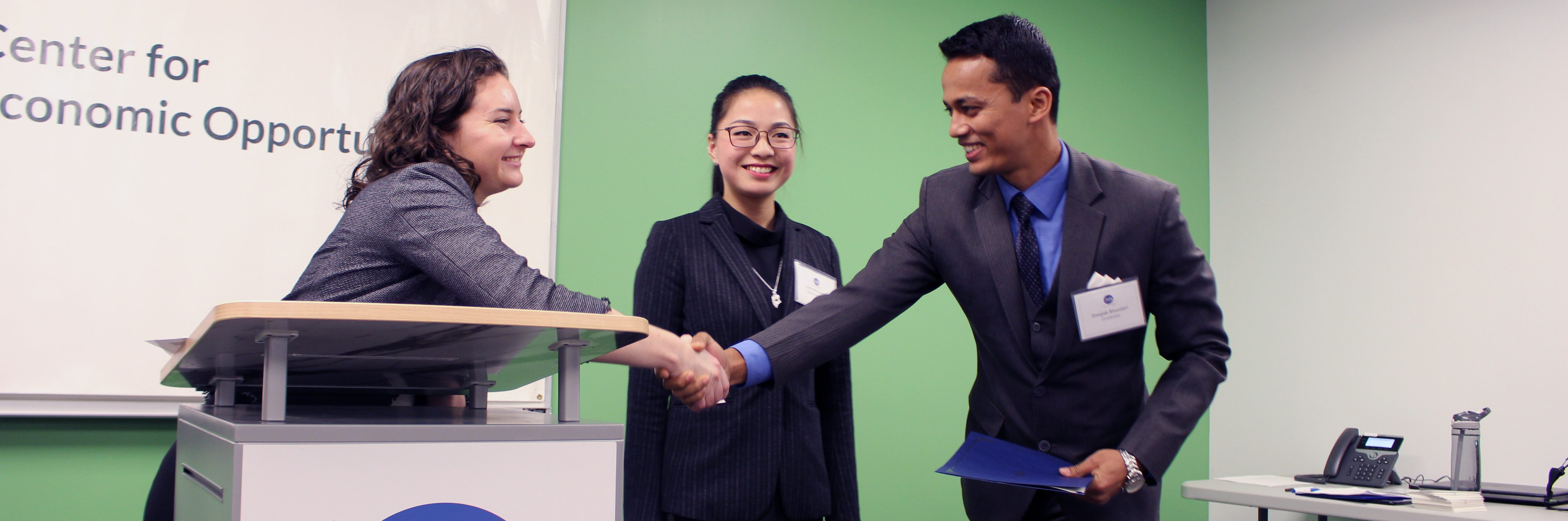 JVS student shaking hands with a career coach