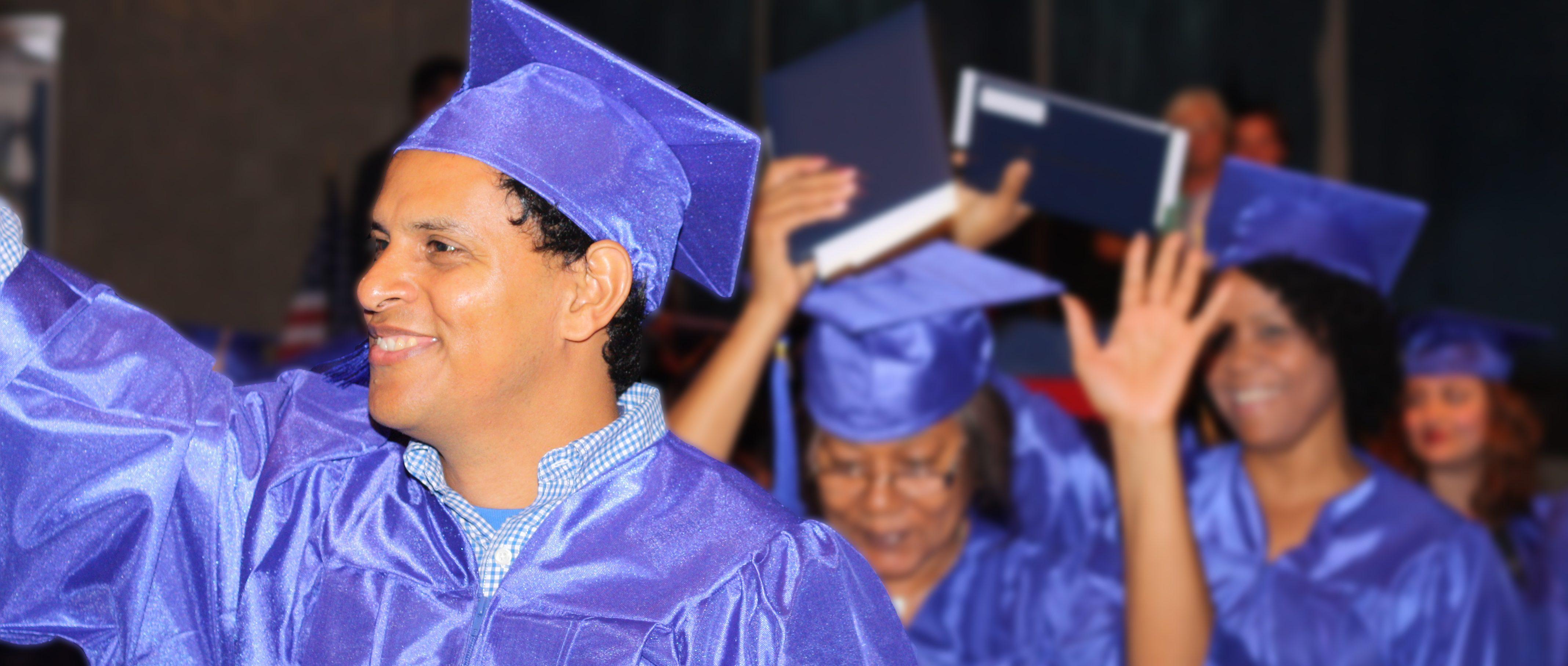 Graduates of the JVS Adult Diploma Pathway celebrating their graduation