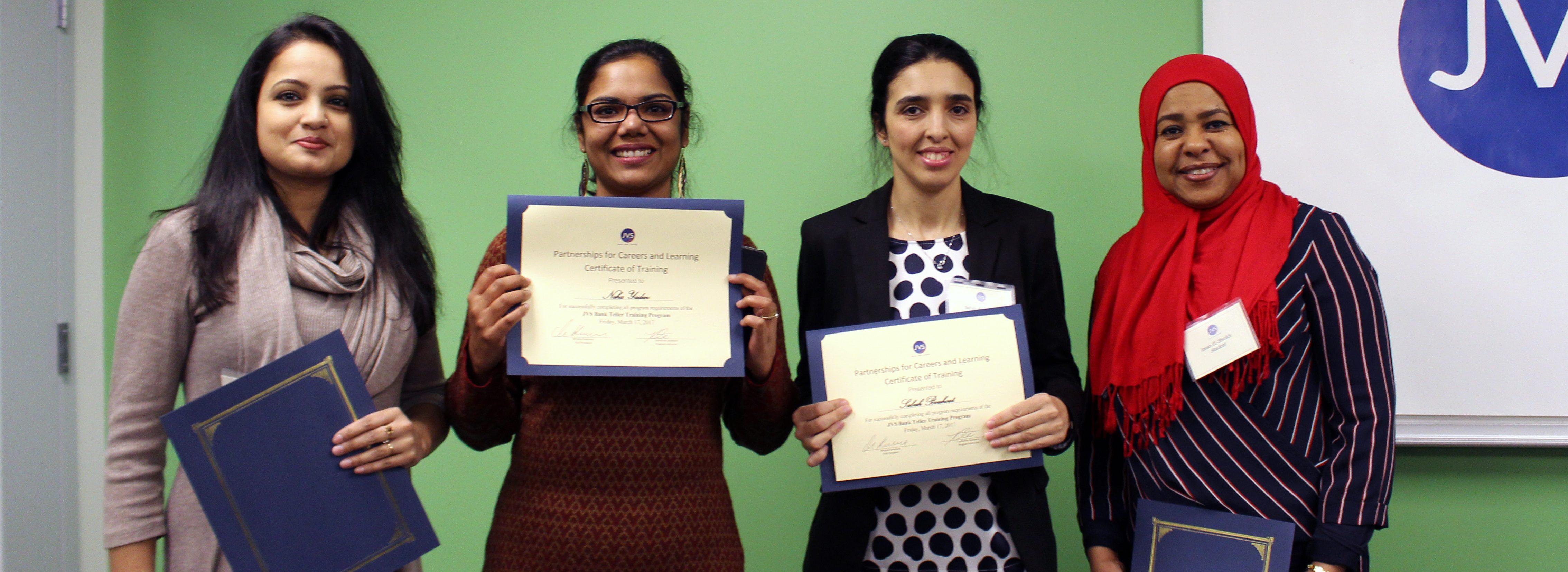 JVS Bank Career Program graduates holding their program completion certificates
